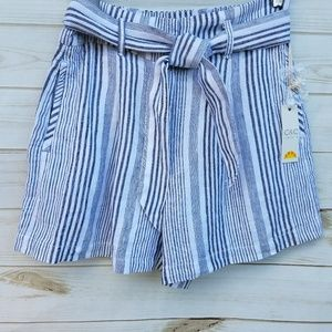 NEW C & C California linen shorts 8 grey stripe